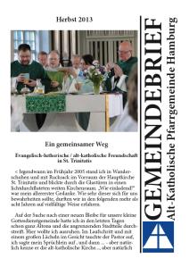 Pfarrgemeinde Hamburg - Gemeindebrief Herbst 2013
