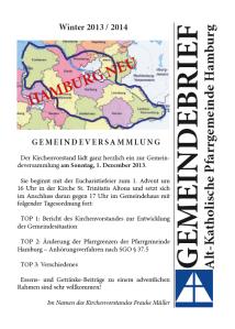 Gemeindebrief der Pfarrgemeinde Hamburg - Winter 2013 / 2014