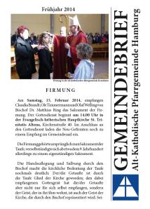 Gemeindebrief Hamburg Frühjahr 2014