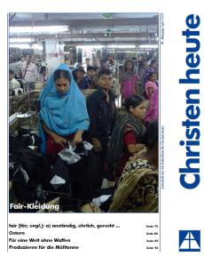 Titelbild Christen heute April 2014 - Foto: © Kampagne für Saubere Kleidung / Clean Clothes Campaign